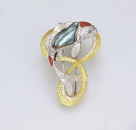 ** A MULTI-GEM CARP PENDANT/CL