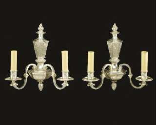 A pair of Baroque style silver