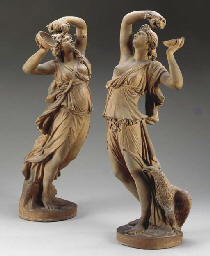 Pair of dancing Bacchantes