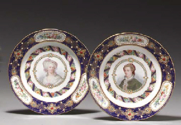 TWO SÈVRES STYLE 'JEWELED' BLU