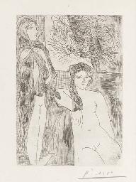 Rembrandt et deux femmes, Plat