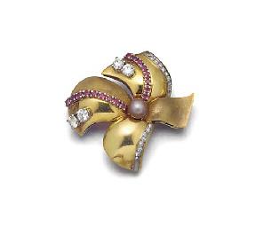 A diamond and gem brooch,