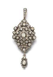 An antique rose-cut diamond br