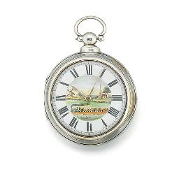 A silver pair case verge watch