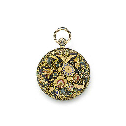 A gold and enamel open-face ve