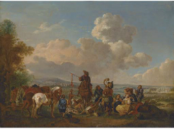 A hunting party with trophies