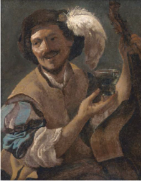 A laughing bravo with a bass v
