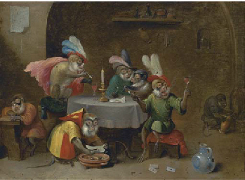 A tavern interior with monkeys