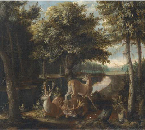 A wooded landscape with two st
