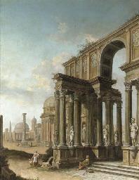 A capriccio of Roman ruins, wi