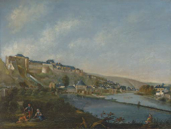 A river landscape with a Germa