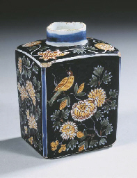 A Delft noir chinoiserie flora