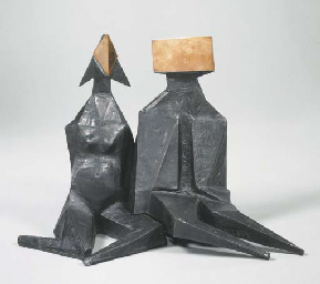 Pair of Sitting Figures IV