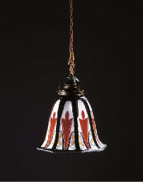 A leaded glass hanging lamp