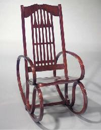 A bentwood rocking chair