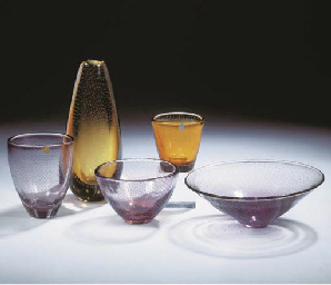(5) An amber glass vase