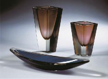 (3) Two Prisma glass vases