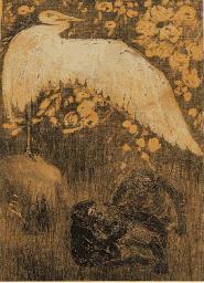 (4) Reiger met uitgestoken vle