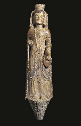 A LIMESTONE FIGURE OF GUANYIN