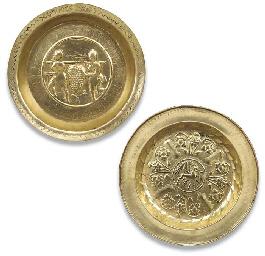 TWO CIRCULAR BRASS ALMS DISHES
