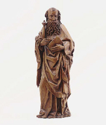 A CARVED WOOD FIGURE OF ST. PA