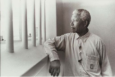 Nelson Mandela in his Cell on