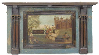 A painted wood overmantle