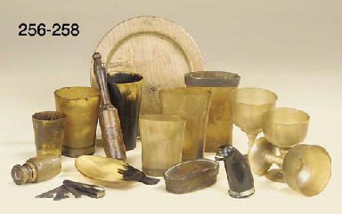 A group of horn utensils and o