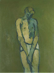 Nude against a green backgroun
