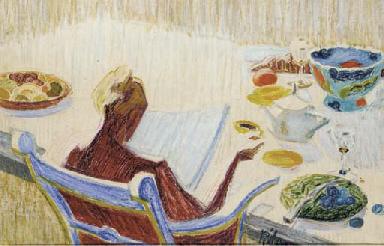 Woman at tea-table