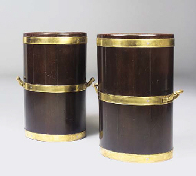 A PAIR OF BRASS-BOUND MAHOGANY