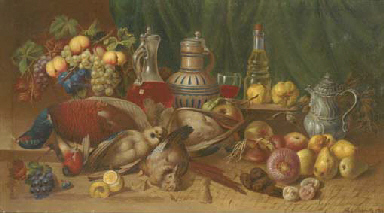 Game, onions, grapes, a lemon,