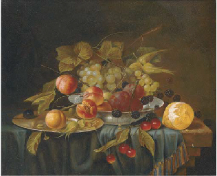 A bowl and a salver of grapes,