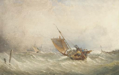 A fishing smack in high seas
