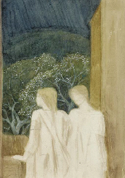 Two figures on a terrace: a st