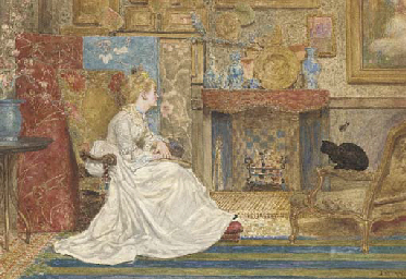 An elegant lady seated by a fi