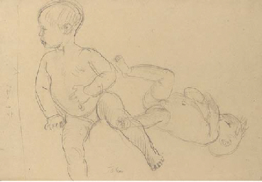 Two sketches of a baby