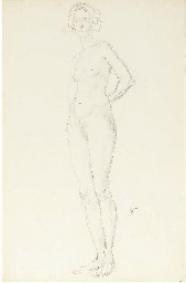 Standing female nude with hand
