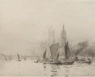 Barges on the Thames before th