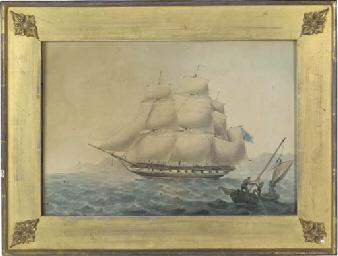 A frigate off the coast