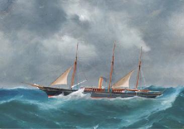 The schooner-rigged steam yach