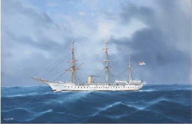 A British troopship at sea