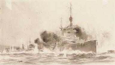 Battleships in action
