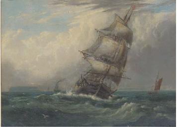 A frigate heeling in the breez