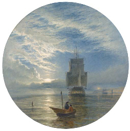 A frigate becalmed off a port