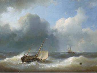 A lugger in heavy seas
