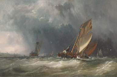 Barges in a squall on the Medw