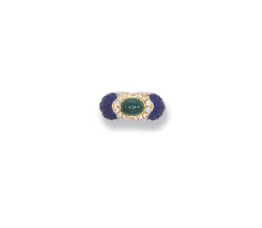 A GEM-SET AND DIAMOND RING, BY