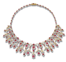 A RUBY AND DIAMOND FRINGE NECK