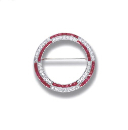 AN ART DECO SYNTHETIC RUBY AND